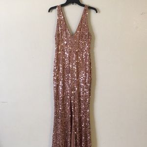 Mocha sequined gown
